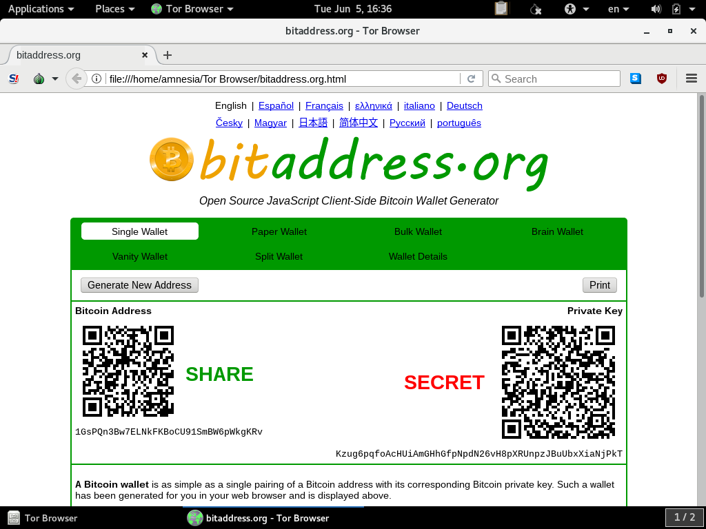 Use Bitaddress