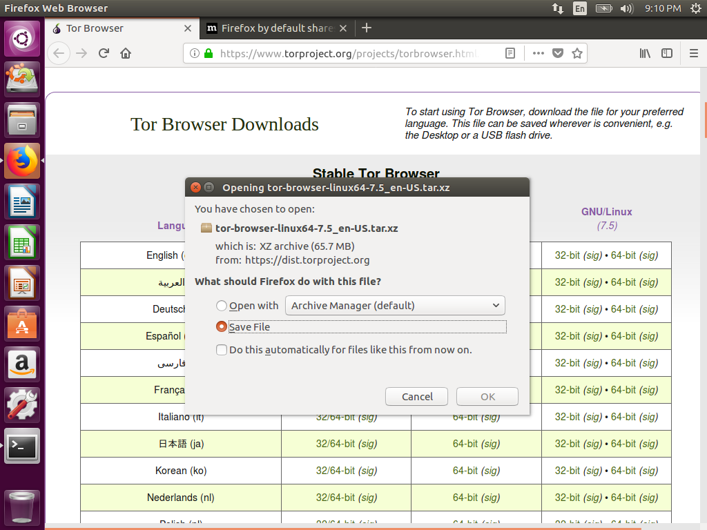 How To Install And Run Tor Browser In An Ubuntu 16 04 Temporary Live